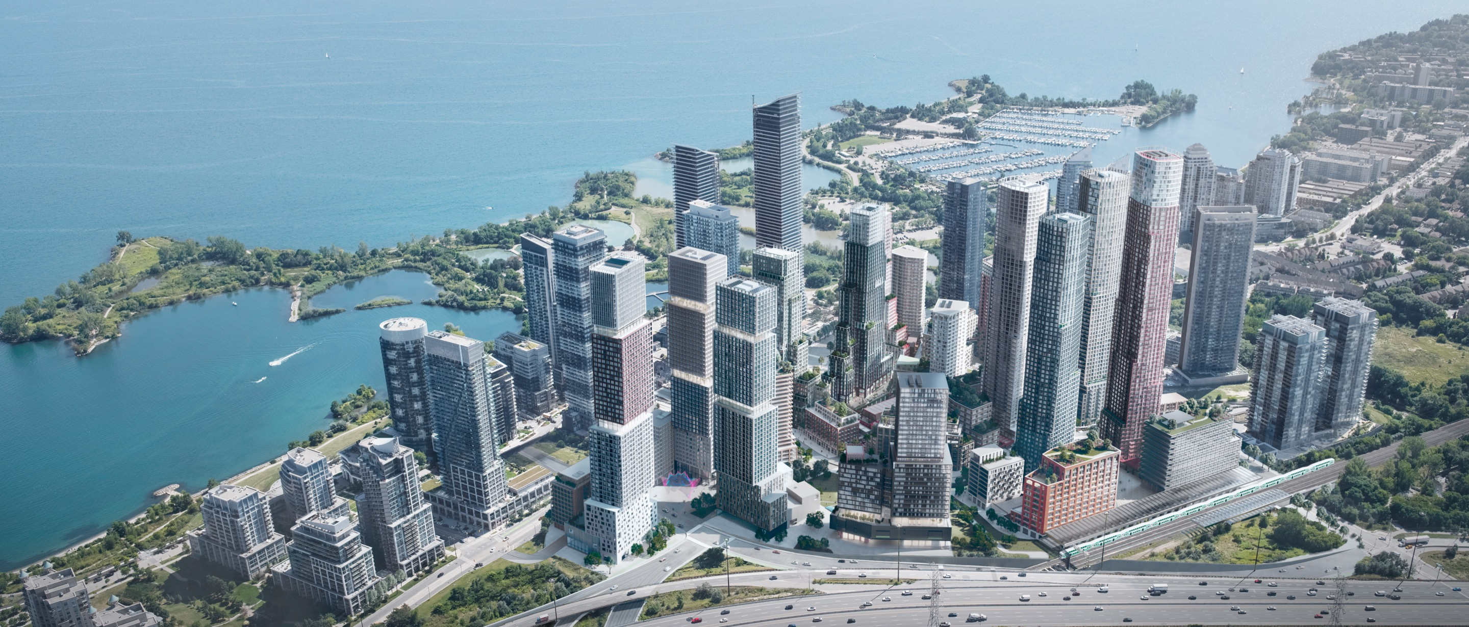 Aerial rendering with tall buildings along the waterfront.