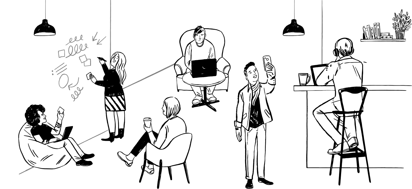 Animation of various office individuals working.
