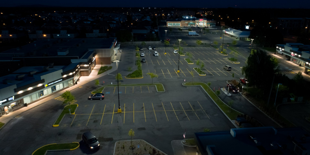 aerial photo of Promenade du Parc parking lot to show the LED conversion